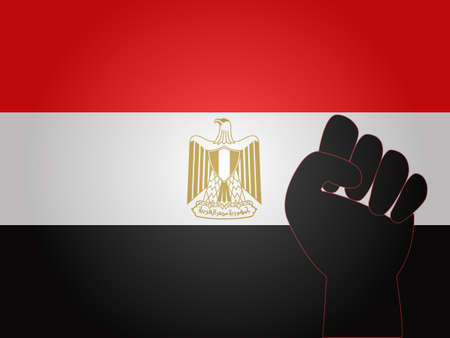 Egyptian Flag with Protest Sign EPS10 Vector