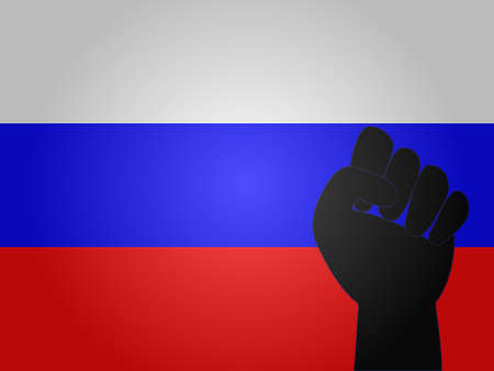 Russian Flag with Protest Sign EPS10