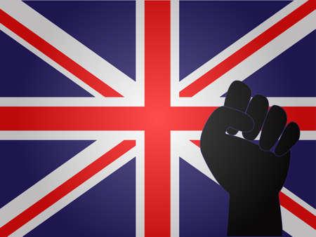 fascism: United Kingdom Flag with Protest Sign EPS10