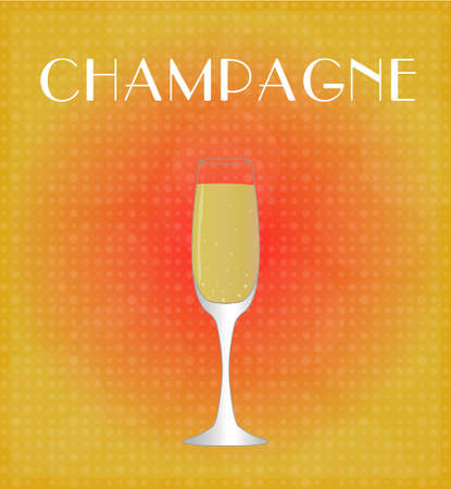 date night: Drinks List Champagne with Red   Golden Background EPS10 Illustration