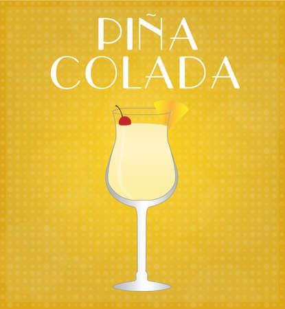 date night: Drinks List Pina Colada with Golden Background