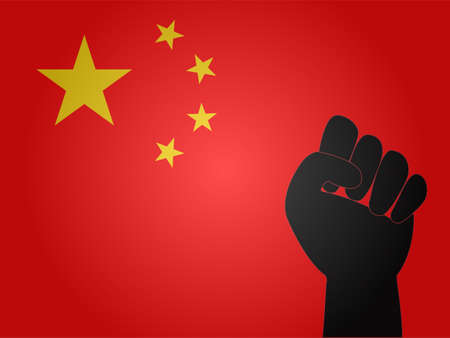 dictator: Chinese Flag with Protest Sign    Illustration