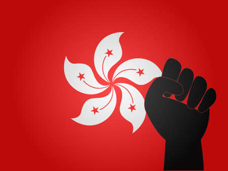 Hong Kong Flag with Protest Sign   Vector