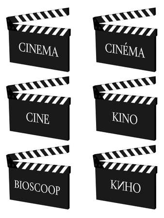 famous actress: Cinema Clapperboards in Different Languages Illustration