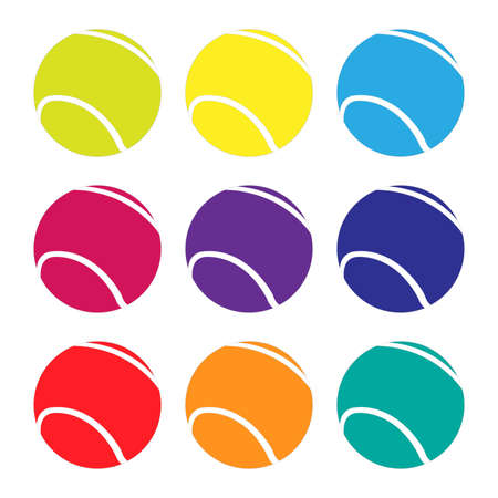 Tennis Balls in Different Colours Vector