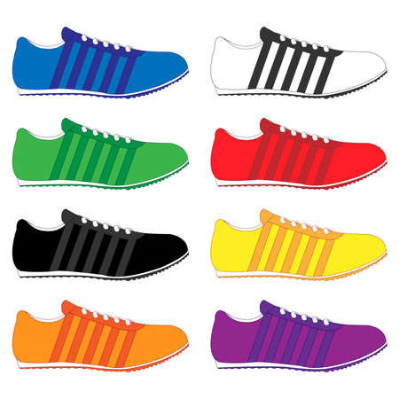 black and yellow: Running Shoes with Stripes in Different Colours Blue White Green Red Black Yellow Orange Purple Illustration