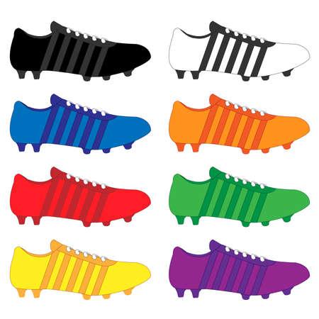 サッカーのクリートのストライプの異なる色の黒白いオレンジ赤い緑黄色い青紫