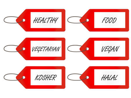 Healthy Food Tags 1 Red Vector