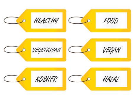 Healthy Food Tags 2 Yellow Vector