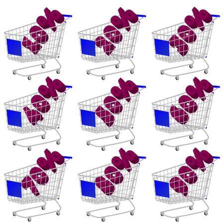 Blue 3D Shopping Cart with Discount Texts Vector