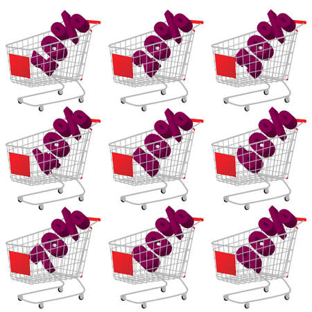 costumer: Red 3D Shopping Cart with Discount Texts