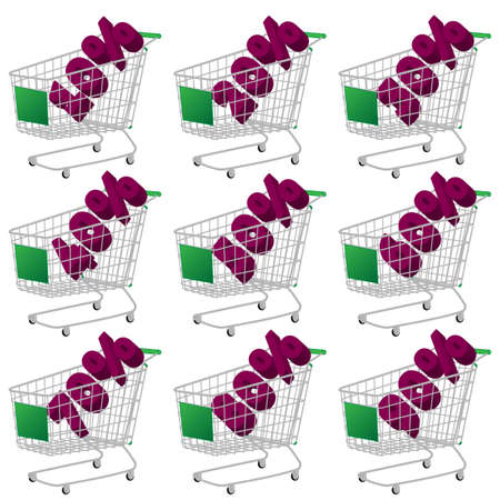 Green 3D Shopping Cart with Discount Texts Vector