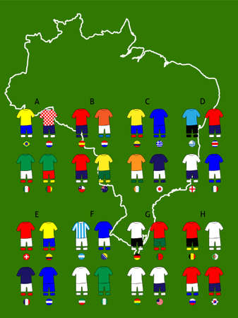 Brazil 2014 Football Cup Groups Map Jerseys Vector