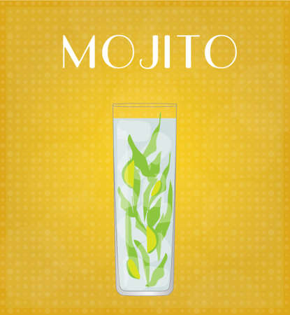 highball: Drinks List Mojito with Golden Background EPS10 Illustration