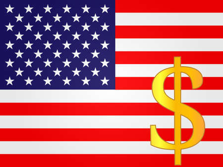 Dollar Currency Sign over the United States Flag EPS 10 Vector