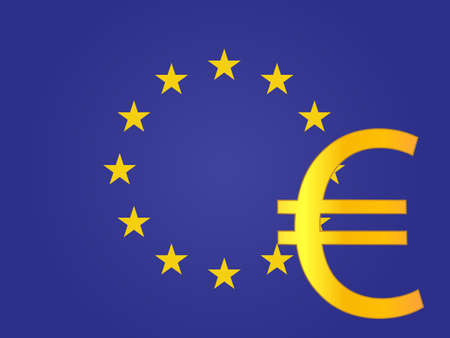 Euro Currency Sign over the European Union Flag EPS 10 Vector