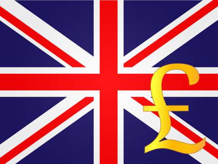 deregulation: Pound Currency Sign over the United Kingdom Flag EPS 10 Illustration