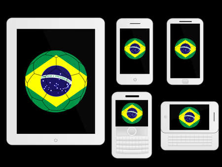 media gadget: Mobile Devices with Brazil Football White