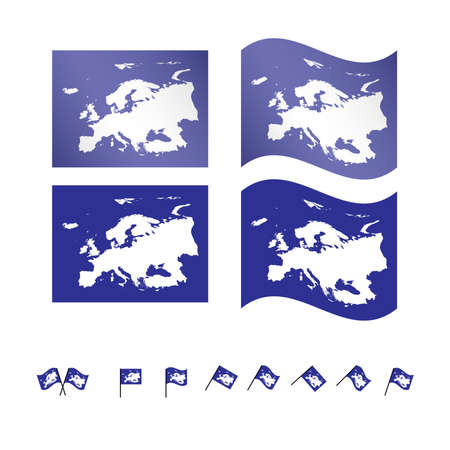 Flags with European Map EPS 10 Vector