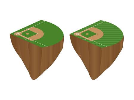 Baseball Fields Floating Islands Stock Vector - 27696746