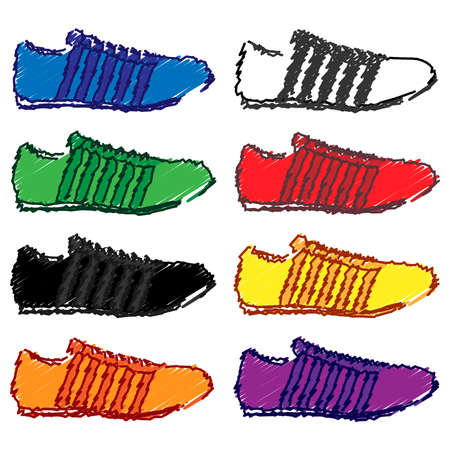 walking trail: Running Shoes with Stripes in Different Colours Blue White Green Red Black Yellow Orange Purple Pencil Style 1 Illustration
