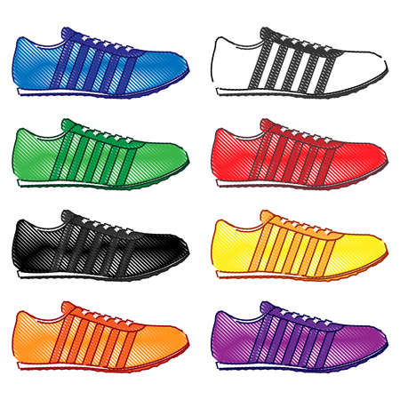 black and yellow: Running Shoes with Stripes in Different Colours Blue White Green Red Black Yellow Orange Purple Pencil Style 2