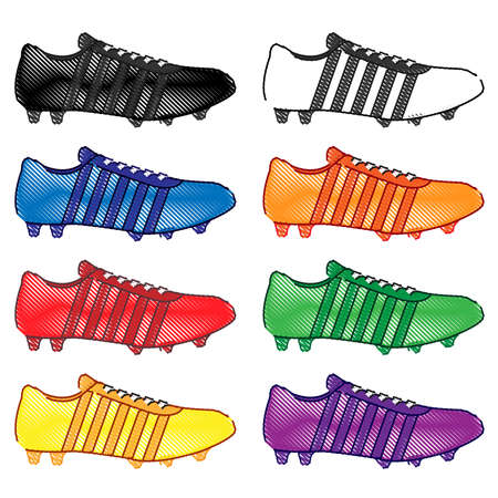 Football Cleats with Stripes in Different Colours Black White Blue Orange Red Green Yellow Purple Pencil Style 2 Vector