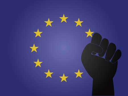 유럽의: 항의 서명 EPS10와 유럽 연합 깃발