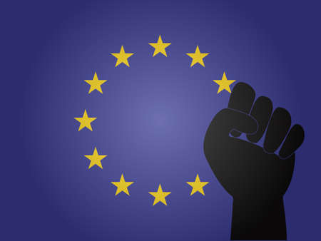 European Union Flag with Protest Sign EPS10