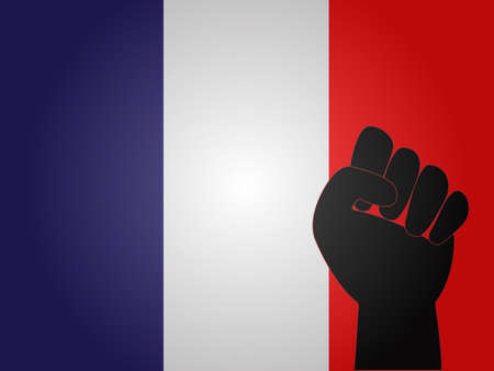 French Flag with Protest Sign EPS10 Illustration