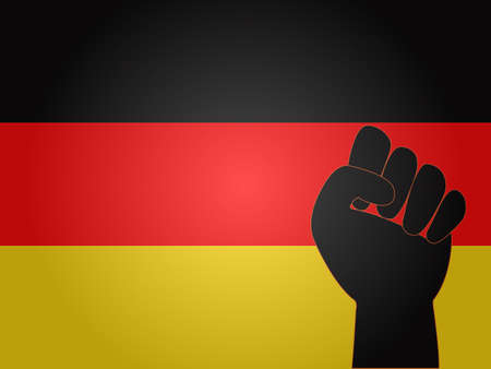 German Flag with Protest Sign EPS10