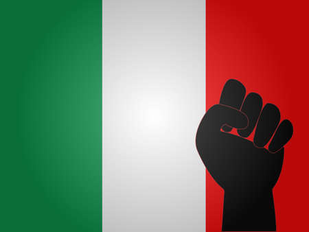 dictator: Italian Flag with Protest Sign EPS10 Illustration