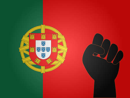 dictator: Portuguese Flag with Protest Sign EPS10 Illustration