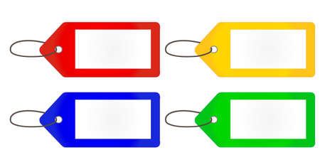 Empty Tags in Different Colours Red Yellow Blue Green Vector
