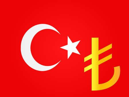 deregulation: Lira Currency Sign over the Turkish Flag  Illustration
