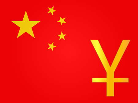 deregulation: Yuan Currency Sign over the Chinese Flag  Illustration
