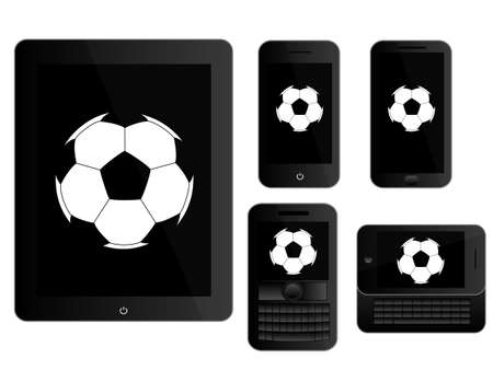 mobile devices: Mobile Devices with Football Black