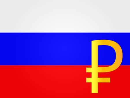 deregulation: Ruble Currency Sign over the Russian Flag