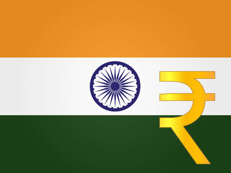 deregulation: Rupee Currency Sign over the Indian Flag