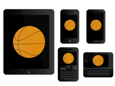 mobile devices: Mobile Devices with Basketball Black Illustration