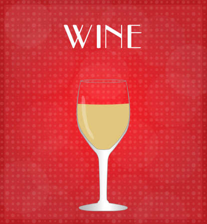Drinks List White Wine with Red Background  Çizim