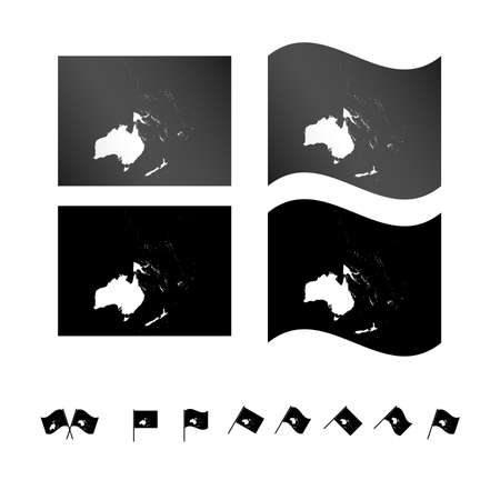 Flags with Oceania Map EPS 10 Vector
