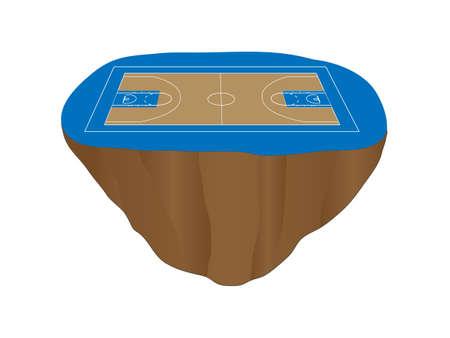 isla flotante: Isla Flotante cancha de baloncesto azul Vectores