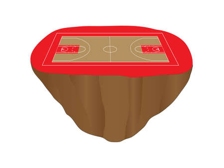 floating island: Red Basketball Court Floating Island