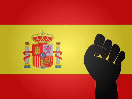 Spanish Flag with Protest Sign EPS10