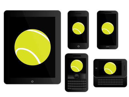 Mobile Devices with Tennis Ball Black Stock Vector - 28023097