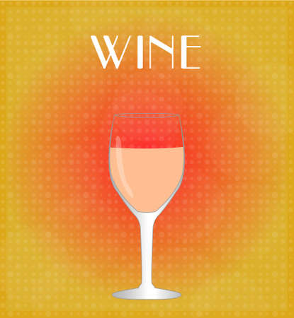 Drinks List Rosé Wine with Red   Golden Background EPS10