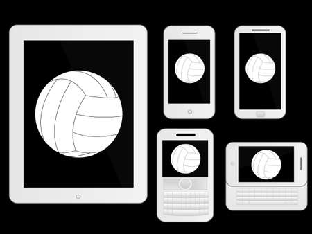 mobile devices: Mobile Devices with Ball White Illustration