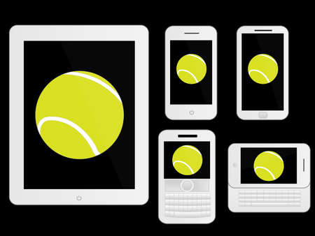 Mobile Devices with Tennis Ball White Stock Vector - 28023099