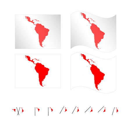Flags with Latin American Map EPS 10 Vector